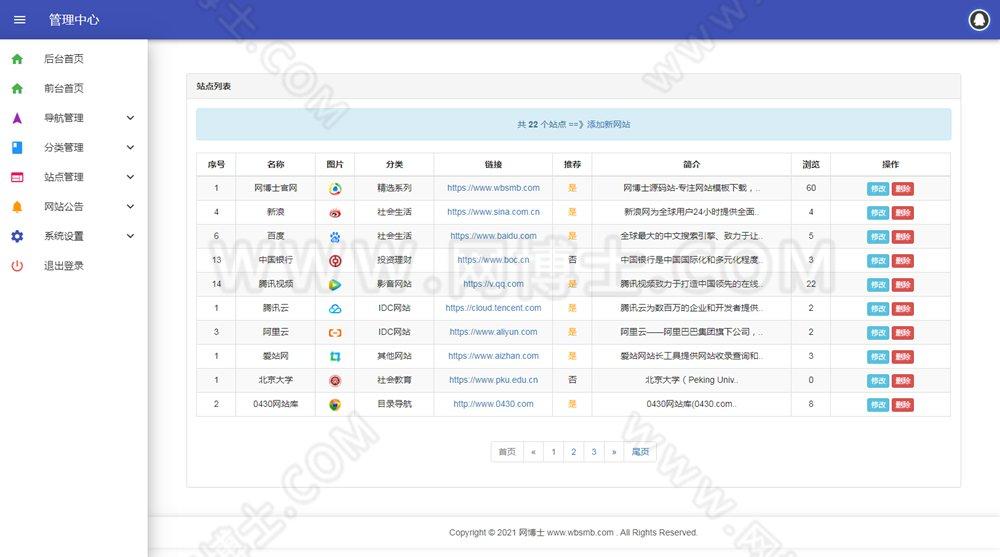 站长导航网PC+WAP自适应版